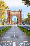 Bike path Arc de Triomphe in central Barcelona, symbol of eco Royalty Free Stock Images