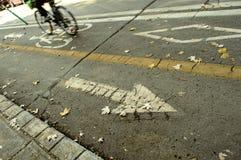 Bike path with arrow and bike symbols. Person riding bicycle on urban bike path Stock Photos