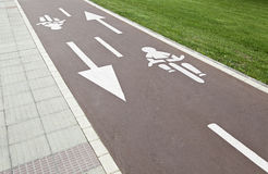Bike path in city Stock Photography