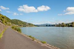 Bike path in Germany along the Rhine Royalty Free Stock Photo