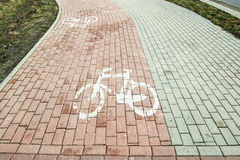 The bike path marked Royalty Free Stock Images