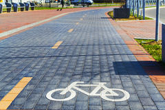 Bike path. On the Oktyabrskiy island in Kaliningrad Royalty Free Stock Photos