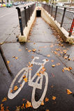 Bike path in Paris Stock Photo