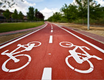 Bike path on a park. Red bike path on a park Royalty Free Stock Photography