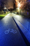 Bike path in the park night city Stock Image