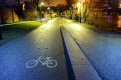 Bike path in the park night city, Helsinki Royalty Free Stock Photography