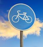 Bike path sign close-up. On sky background Stock Image