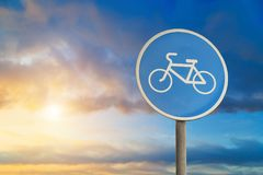 Bike path sign close-up. On sky background Stock Photo