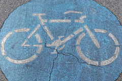 Bike path sign. At street pavement Stock Photography