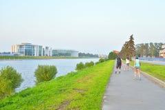 Bike path at summer evening. Stock Photos