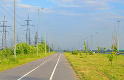Bike path at summer sunny day. Bike path summer sunny day on outskirts of St.Petersburg, Russia royalty free stock photography