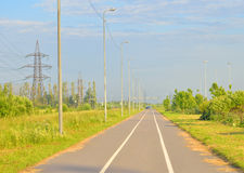 Bike path at summer sunny day. Bike path summer sunny day on outskirts of St.Petersburg, Russia royalty free stock image