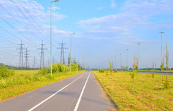 Bike path at summer sunny day. Bike path summer sunny day on outskirts of St.Petersburg, Russia stock photography