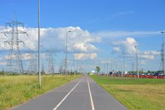 Bike path at summer sunny day. Bike path summer sunny day on outskirts of St.Petersburg, Russia stock photo