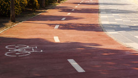 Bike path in the  town Royalty Free Stock Photography
