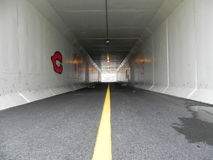 Bike Path Tunnel. With line in wintertime Stock Photos