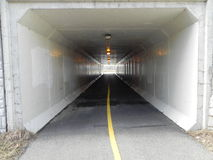 Bike Path Tunnel. With line in wintertime Royalty Free Stock Photos