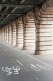 Bike path under Bercy bridge in Paris. France Royalty Free Stock Photography