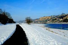 Bike path in winter Royalty Free Stock Photos