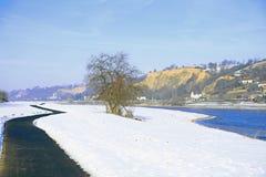 Bike path in winter Royalty Free Stock Photo