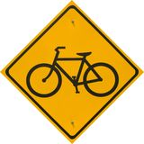 Bike Path Yellow Sign Royalty Free Stock Photography