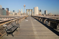 Bike and Pedestrian Lanes on the Brooklyn Bridge Stock Images