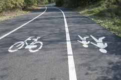 Bike and pedestrian lanes Stock Photography