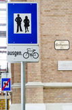 Bike and pedestrian path signs Stock Photography