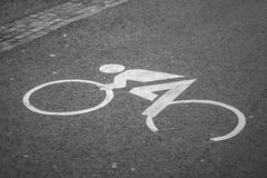 Bike Pictogram. An typical Austrian bike pictogram on the road Stock Photography