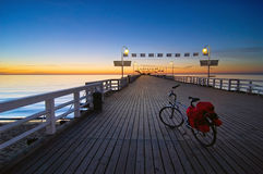 Bike on a pier Stock Photo