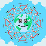Bike and the planet Stock Photography