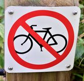 Bike prohibited sign Royalty Free Stock Image