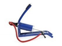Bike pump. Blue painted metal bicycle pump royalty free stock images