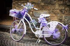 Bike. Purple and white bicycle parked in the street Royalty Free Stock Photos