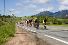 Bike Race. A group of bikers coast downhill at the 2010 Superior Morgul Classic in Superior, CO Stock Photos