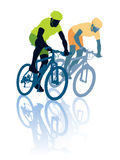 Bike race. Two cyclists in the bicycle race. Sport illustration Stock Photo