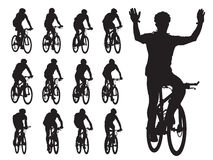 Bike race. Set of cyclist's silhouettes in the bicycle race. Sport illustration Royalty Free Stock Photo