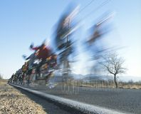 Bike race in the desert. Cyclists zoom past during a bicycle race in Tucson Arizona Stock Image