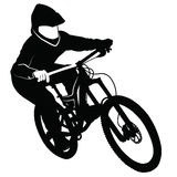 Bike race on a mountain slope -- silhouette Stock Photography