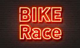 Bike race neon sign. On brick wall background Stock Photo