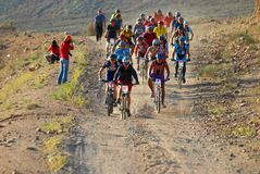 Bike race start in desert Royalty Free Stock Images