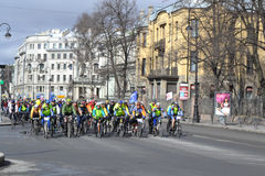 Bike race on street of St.Petersburg Stock Photography