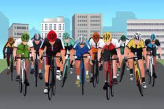 Bike race. A vector illustration of group of people in a bicycle race Stock Photography