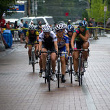 Bike Race - Women. Green Mountain Stage Race, finals day four take place in downtown Burlington, Vermont on Labor Day. Rainy, wet conditions lead to many crashes royalty free stock photos