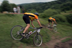 Bike racers. Photo of a mbt racers stock photography