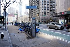 Bicycles for short term rentals in NYC royalty free stock photography
