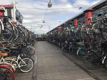 Bike rack in Amsterdam Netherlands stock photos