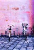 Bike rack downtown Bologna, Italy. Stock Photos