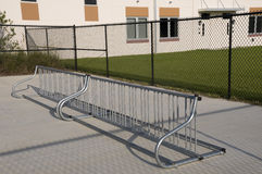 Bike Rack at Elementary School Stock Images