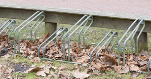 Bike rack in front of a school Royalty Free Stock Image